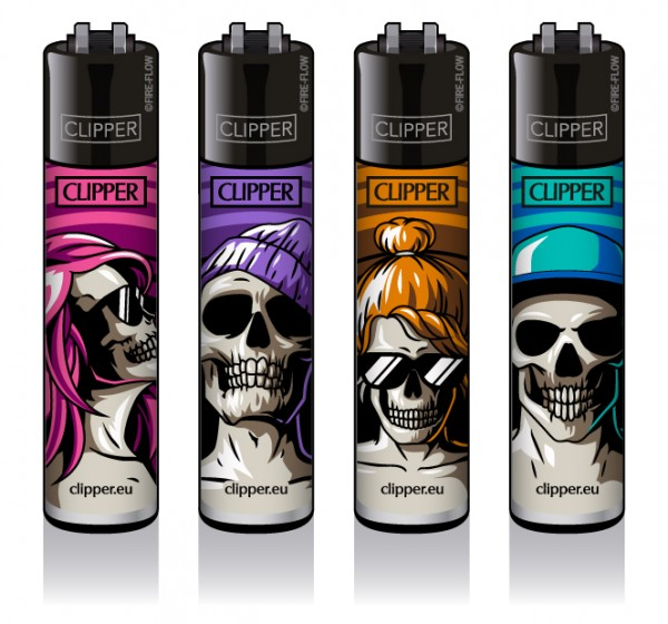 Clipper® Feuerzeuge 4er Set: Skulls #18
