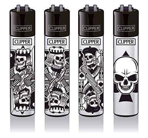 Clipper® Feuerzeuge 4er Set: Skull Cards