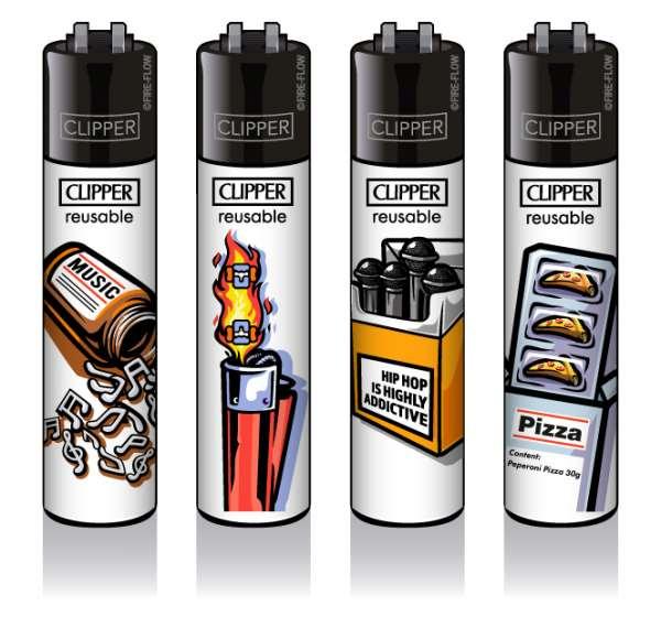 Clipper Feuerzeuge 4er Set: Abstrakt