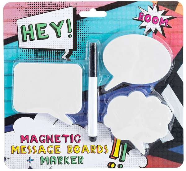 Set Kühlschrank-Magnete Sprechblasen - 3 Magnete inkl. Stift