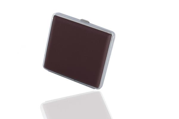 1 X Zigarettenetui (braun) aus leichtem Metall mit Lederimitat