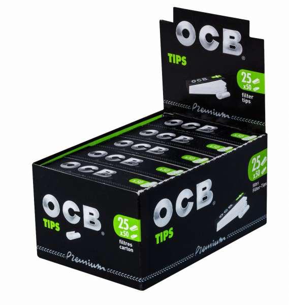 OCB Filter Tips Schwarz Premium 25 Hefte je 50 Blatt