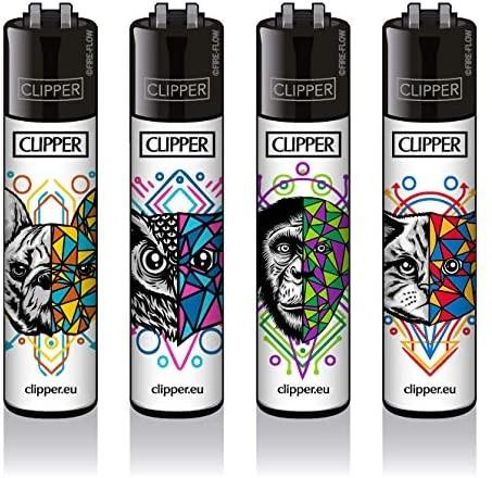 Clipper® Feuerzeuge 4er Set: GEOMETRICAL ANIMALS #2