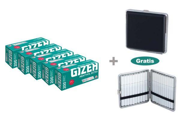 Gizeh Menthol Filter Extra Hülsen 5 x 200 Stück + gratis Zigarettenetui