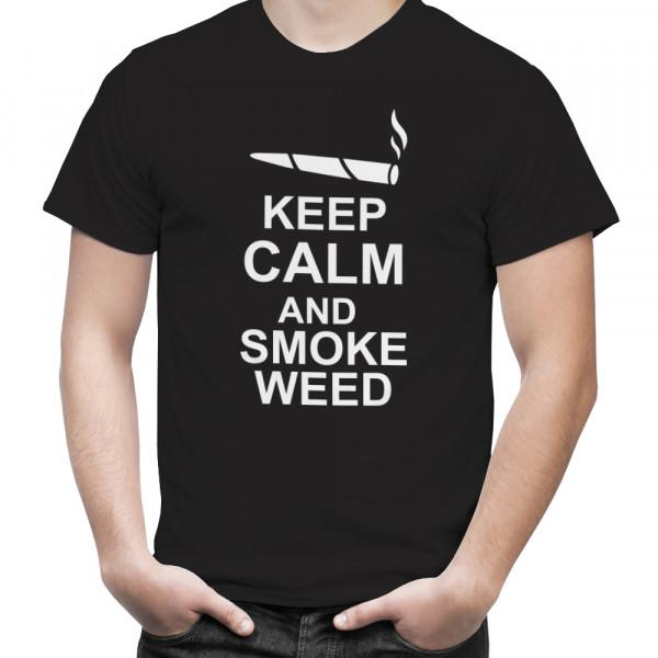 "T-Shirt mit Hanfblatt ""keep calm and smoke"""