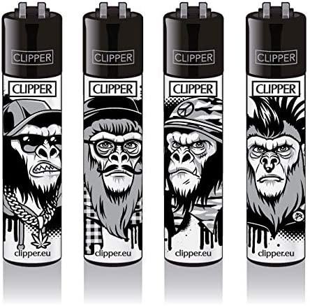Clipper Feuerzeuge - 4er Set: Monkeys