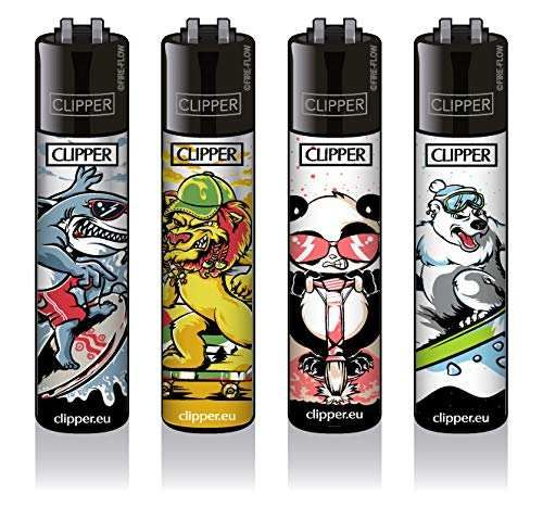 Clipper® Feuerzeuge 4er Set: Funsport Animals