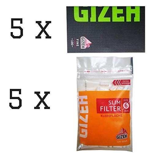 Gizeh 5 x Black Fine Grüne Schrift Papers 100 Blättchen + 5 x Slim Filter 6 mm Klebefläche