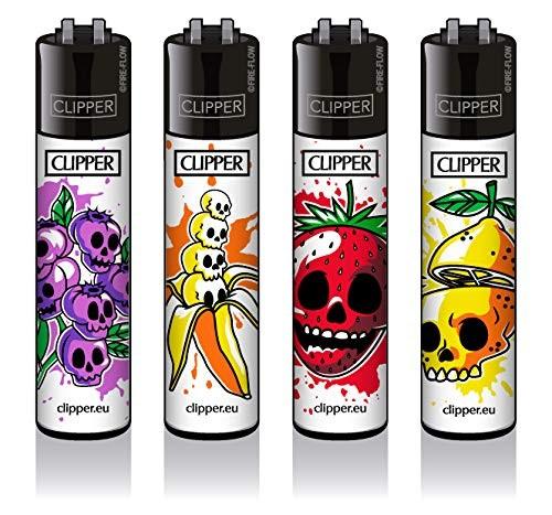 Clipper® Feuerzeuge 4er Set: Fruit Skulls Motive
