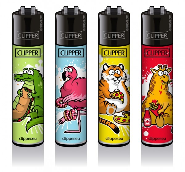 Clipper® Feuerzeuge 4er Set: Fat Animals