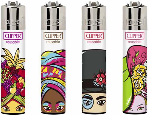 Clipper Feuerzeuge - 4er Set: Crazy Hats