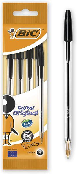 BIC Kugelschreiber Cristal Original (Strichstärke: 0,32 mm und Kugeldurchmesser: 1,0 mm) Beutel à 4