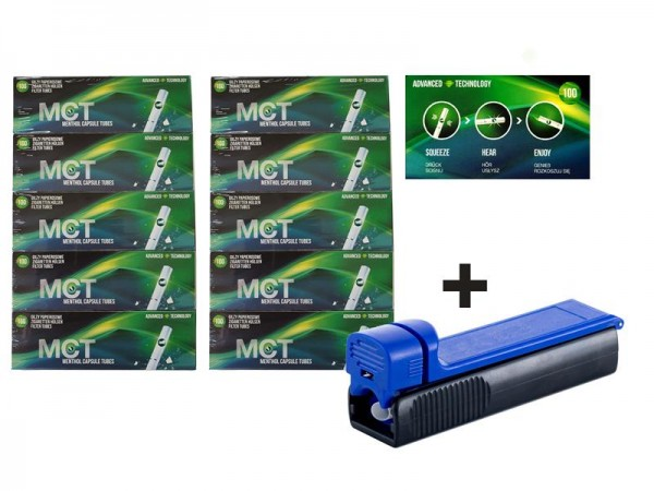 MCT Menthol Fresh Click Filterhülsen (1000 Filterhülsen) inkl. gratis Stopfer