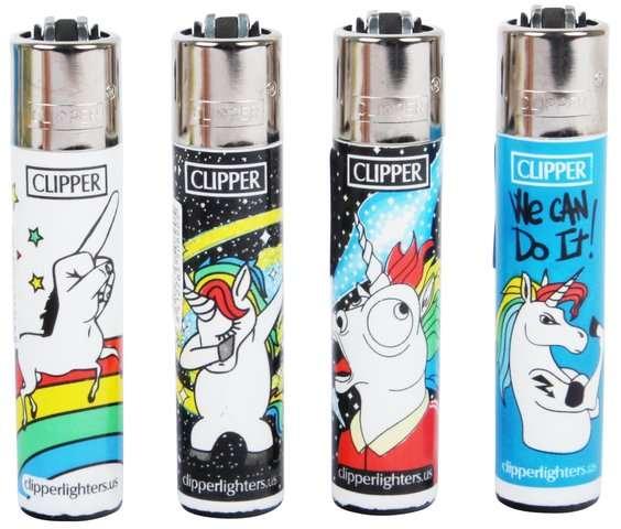 Clipper Feuerzeuge 4er Set: Cool Unicorn