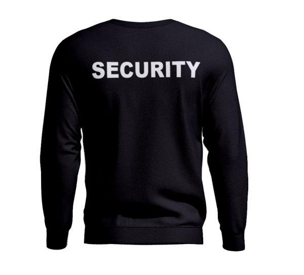 Security Pullover Schwarz mit Aufdruck vorne und hinten.