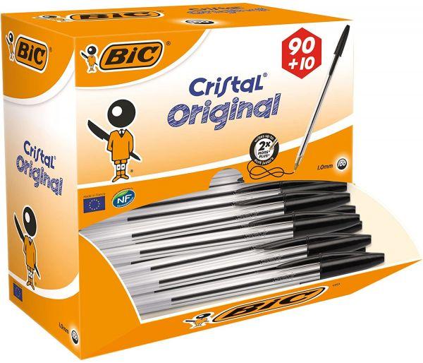 BIC Kugelschreiber Cristal Medium, 100 Kulis in Schwarz, Strichstärke 0,4 mm, Dokumentenechte Tinte-
