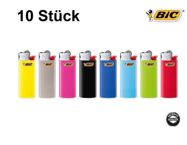 BIC Feuerzeug: Reibrad Mini Farb-Mix J25 - 10er Set