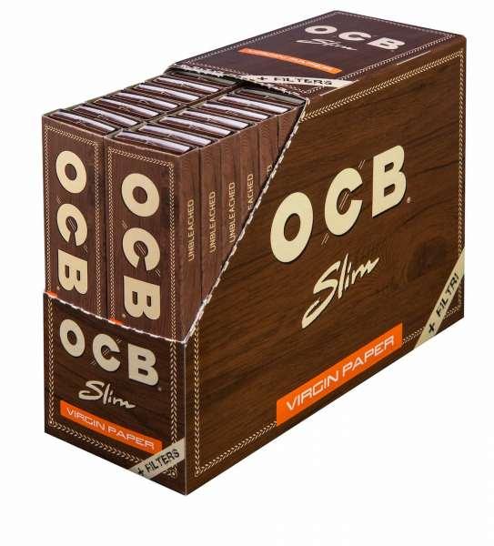 OCB Unbleached Slim Virgin Paper + Tips 32 Hefte