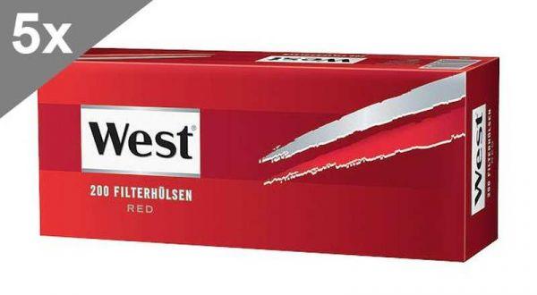 West Red 200 Hülsen, 5er Gebinde