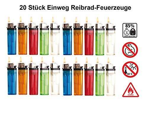 Einwegfeuerzeuge Reibrad (20 Stück)
