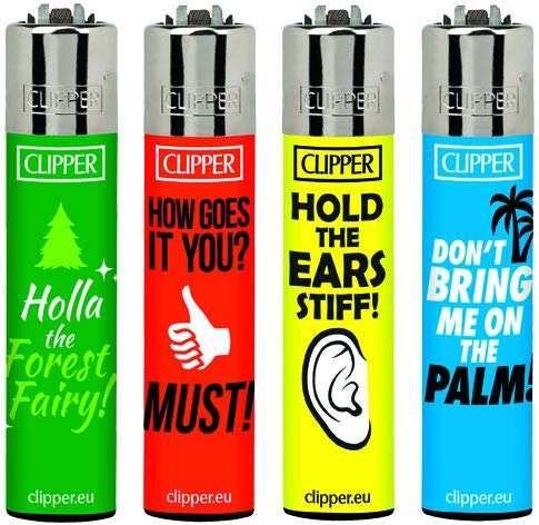 Clipper Feuerzeuge Denglish im 4er Pack