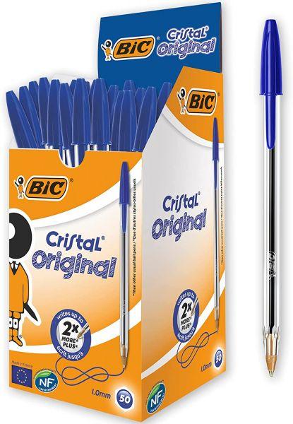 BIC Kugelschreiber Cristal Medium, 50 Kulis in Blau, Kugelschreiberset fürs Büro, Strichstärke 0,4 m