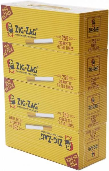 Zig Zag Zigaretten Hülsen, 4 x 250 Stück
