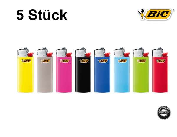 BIC Feuerzeug: Reibrad Mini Farb-Mix J25 - 5er Set