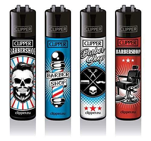 Clipper® Feuerzeuge 4er Set: Barber Shop