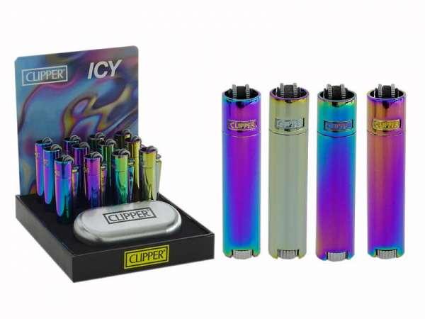 Clipper Metall Micro Feuerzeug: Bright (Icy)