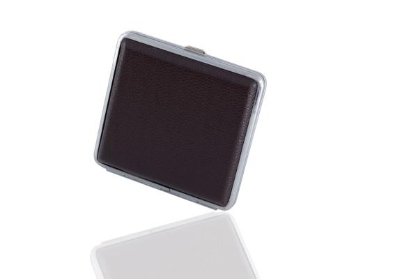 1 x Zigarettenetui (schwarz) aus leichtem Metall mit Lederimitat