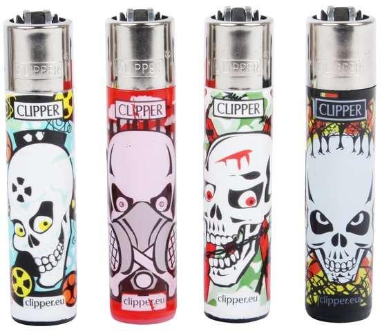 Clipper Feuerzeuge 4er Set: Skull Kill