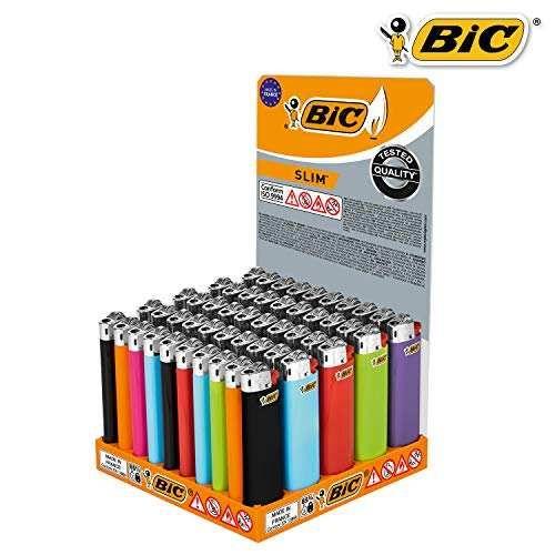 BIC Feuerzeug: Reibrad Slim Farb-Mix J23 - 50er Display