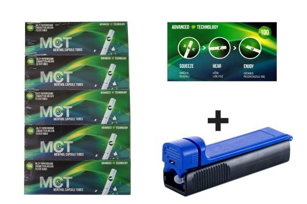 MCT Menthol Fresh Click Filterhülsen (500 Filterhülsen) inkl. gratis Stopfer