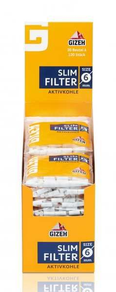 Gizeh Slim Filter Aktivkohle 20 Beutel je 120 Filter