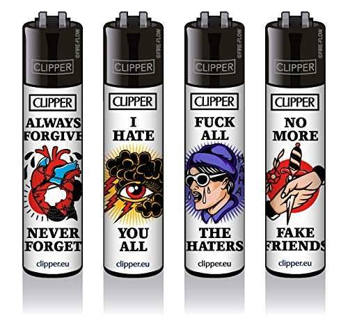 Clipper® Feuerzeuge - Tattoo #34-4er Set - Neu 2020