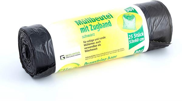 Müllbeutel mit Zugband schwarz 30 Liter