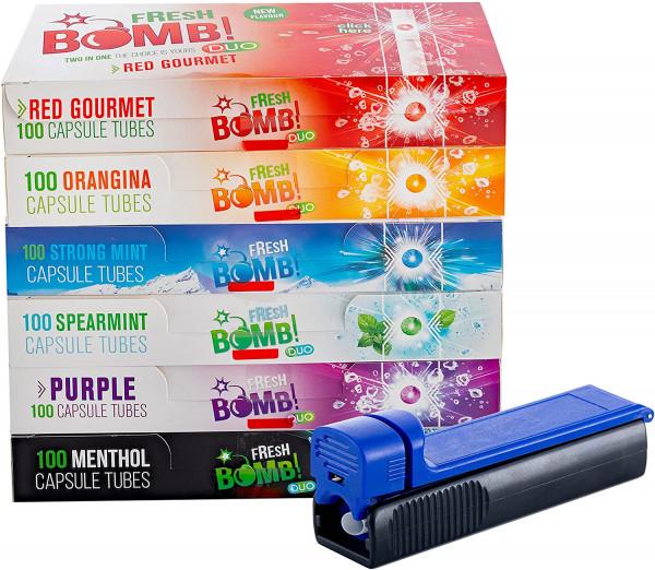 Fresh Bomb Click Hülsen probier Paket mit allen 6 Sorten, Artic Strong, Purple, Menthol, Red Gourmet