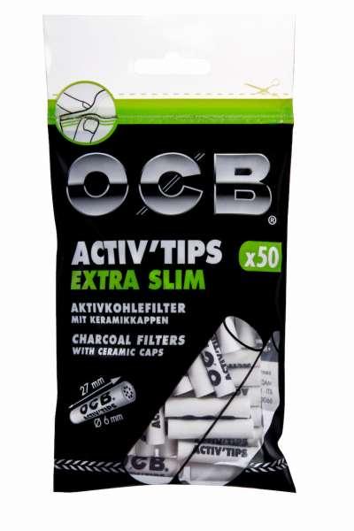 OCB Filter Extra Slim Activ'Tips Aktivkohle 6mm, 50 Stück