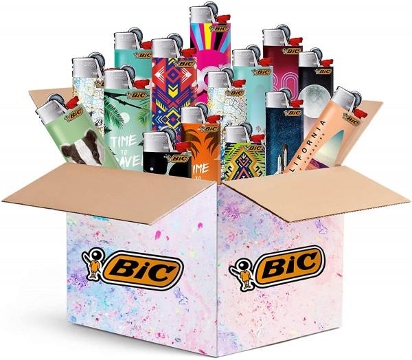 BIC Maxi Feuerzeuge 5 Stück - Top Motive - 5er Mix-Paket - BIC J26 mit Reibrad / Feuerstein-Zündung