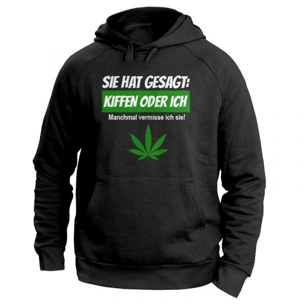 """Kiffer Hoodie mit Hanfblatt """"Kiffen oder ICH"""""""