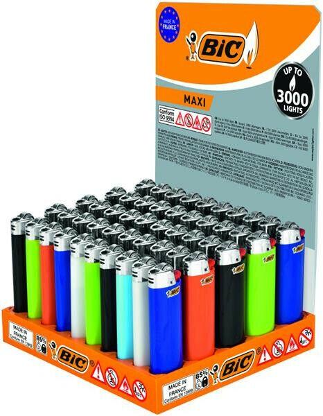 BIC Maxi BIC Feuerzeuge 50 Stück J26 mit Kindersicherung Original-Display