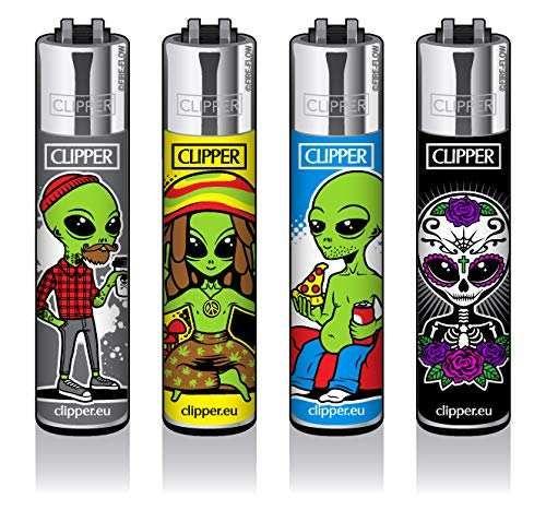 Clipper® Feuerzeuge 4er Set: Alien