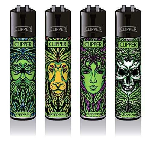 Clipper® Feuerzeuge - 420 Leaf Faces - 4er Set