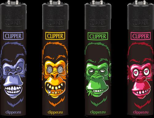 Clipper Feuerzeuge - 4er Set: Affen