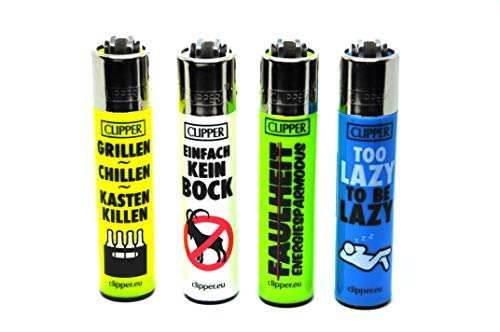 Clipper® Feuerzeuge - Faul - 4er Set
